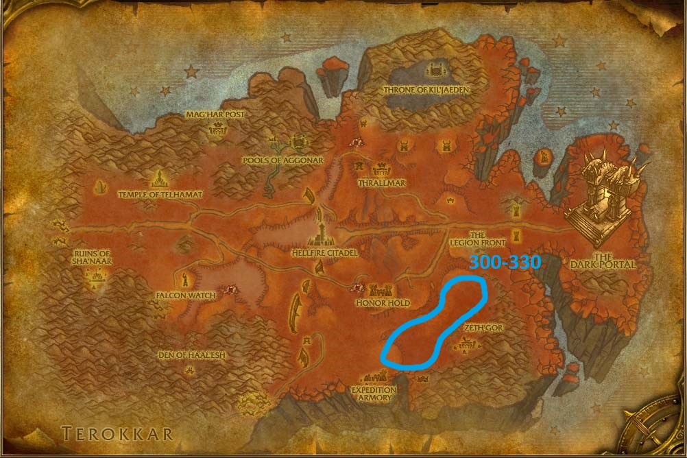 Hellfire Peninsula skinning guide's map