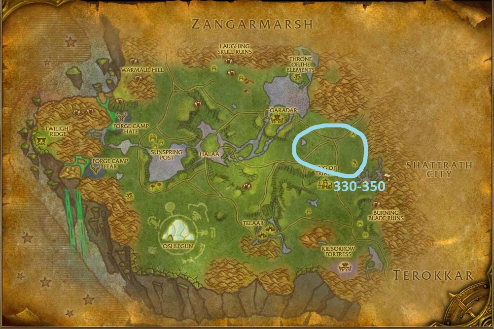 Nagrand skinning guide's map